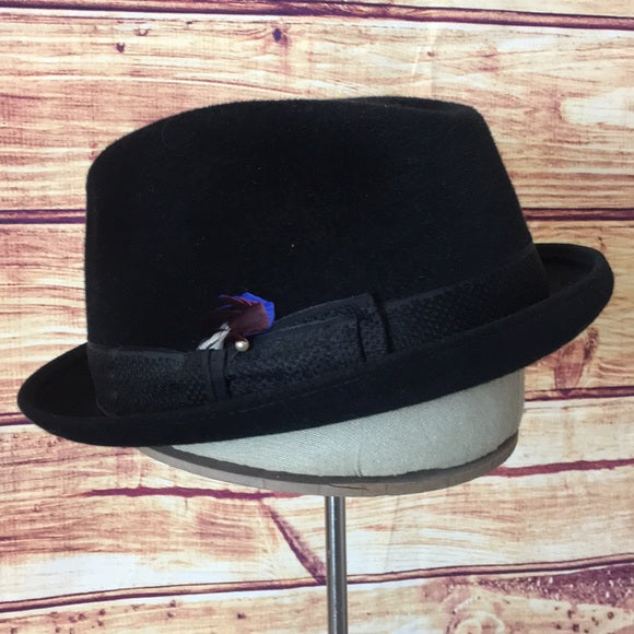 Vintage Black Beaver Feather Fedora Hat