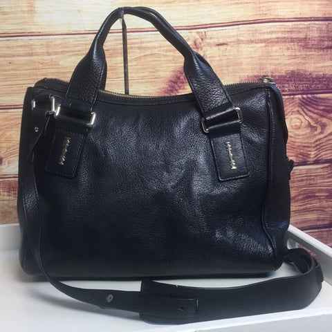 Alexander McQueen Double Strap Black Leather Bag