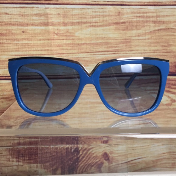 Valentino Blue Frame Logo Square Sunglasses w/Case