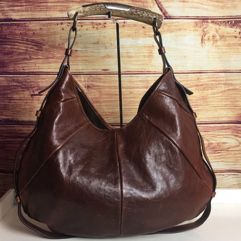 Yves Saint Laurent Mombasa Brown Leather Horn Bag