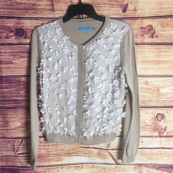 Alice + Olivia Beige White 3D Flower Knit Cardigan