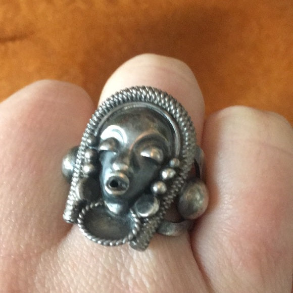Vintage Tribal Face Silver Handmade Ring