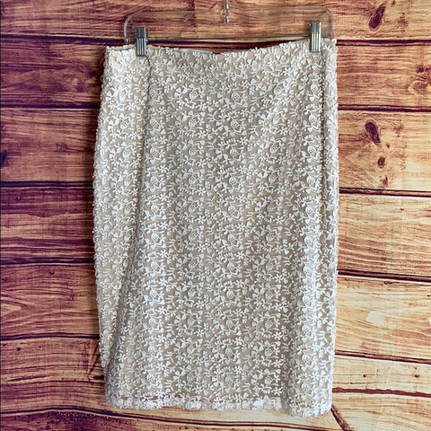 Alice + Olivia Lace Overlay Beige Pencil Skirt