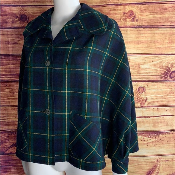 Vintage Archie & Brown Son Navy Plaid British Cape