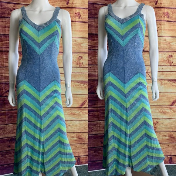 Vintage Emilio Pucci Metallic Blue Chevron Dress