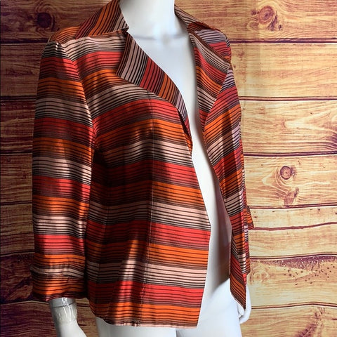 Akris Silk Red & Orange Striped Open Light Jacket
