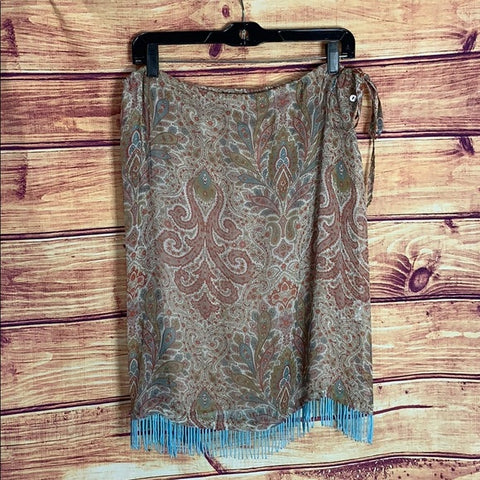 Johnny Was Paisley Turquoise Beaded Fringe Skirt
