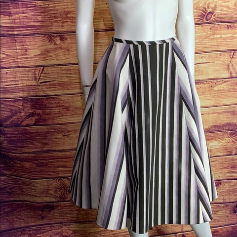 Jason Wu Lilac & Brown Stripe Flare Midi Skirt