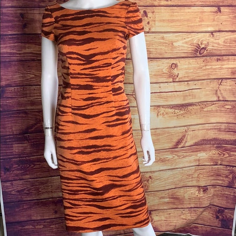 Moschino Cheap & Chic Orange Tiger Stripe Dress