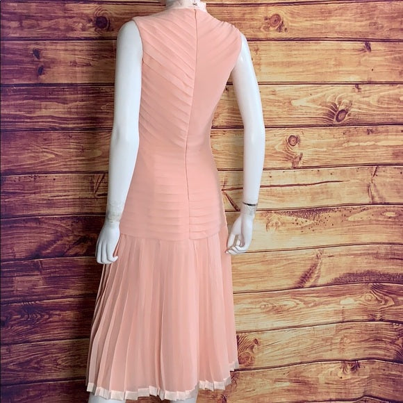Lanu Multi Pleated Sleeveless Pink Midi Dress