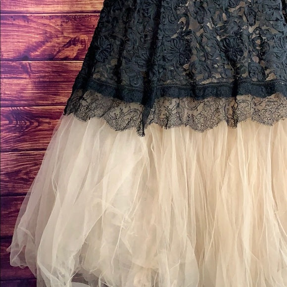 Vintage Black Lace & Nude Tulle Sweetheart Gown