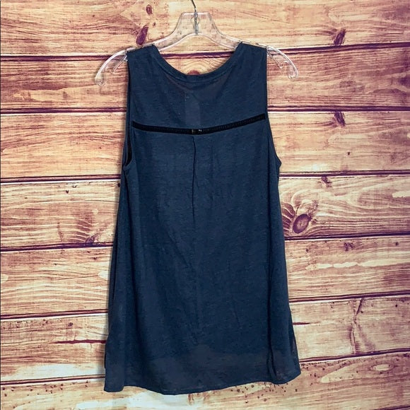 Vince Cut-Out Detail Dusty Dark Blue Tank Top