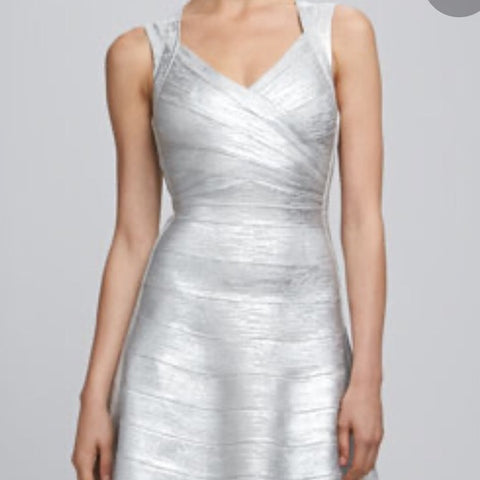 Herve Leger Silver Foil Bandage Mini Dress