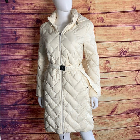 Moncler Hooded Quilt Puffer Cream Down Jacket