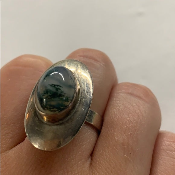 Sterling Silver Large Oval Agate Adjustable Ring