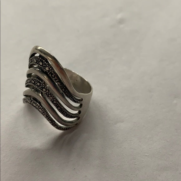 Sterling Silver Marcasite Statement Ring