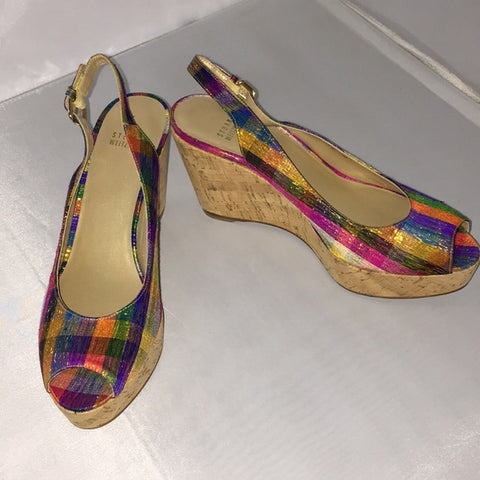 Stuart Weitzman new tinsel multi cork wedges