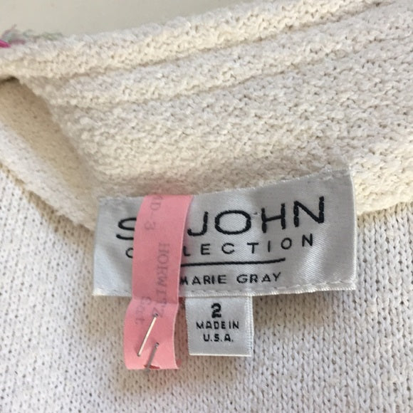 St. John White Pink Trim Jacket/Skirt