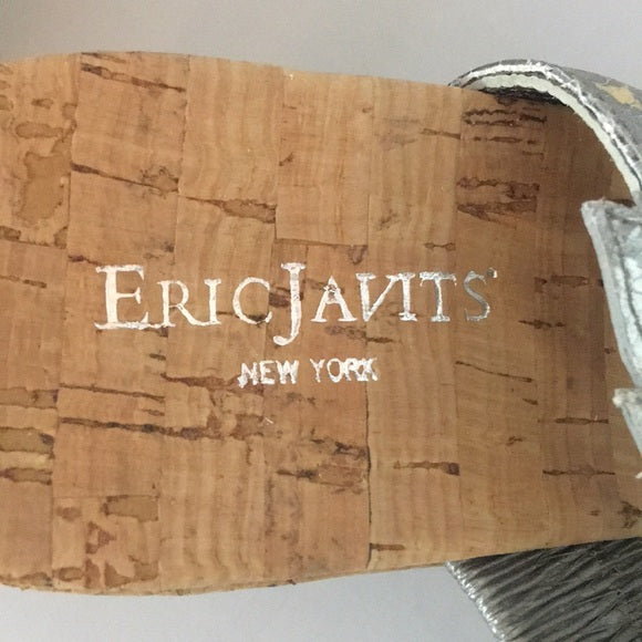 Eric Javits silver strap cork wedges