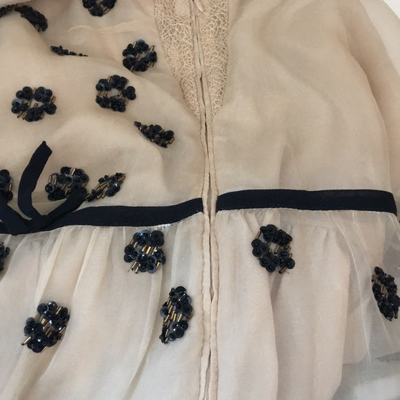Valentino Vintage Cream Black Beaded Flapper Dress