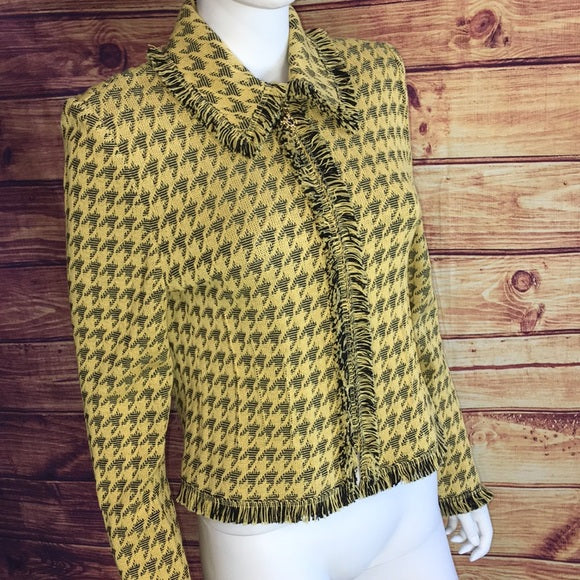 St. John Yellow/Black Houndstooth ZIP Jacket