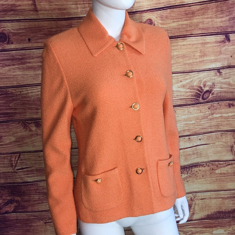 St. John Orange Knit Button Jacket
