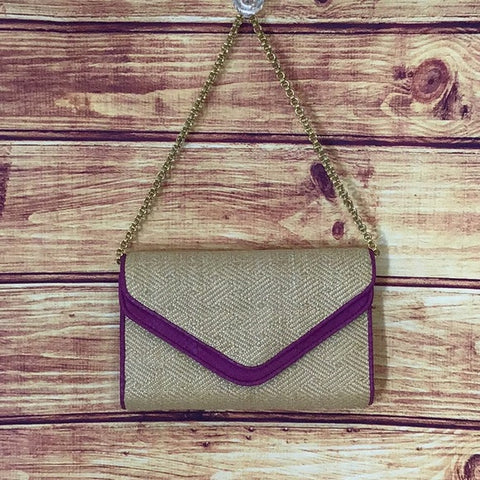 Kotur Straw and Fuchsia Snake Clutch/ Chain