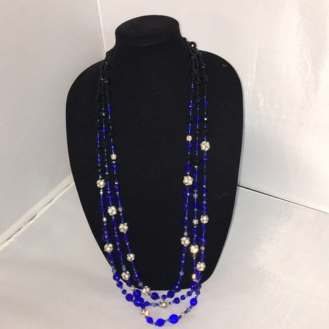 RJ Graziano 3 Strand Blue/Black Crystal Necklace