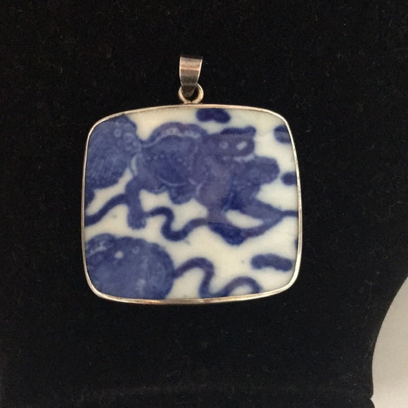 Blue Pottery Pendant w/ 925 Trim