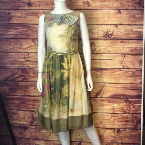 Valentino Green Floral Fit and Flare Dress