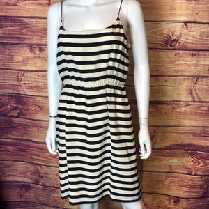 J.Crew Black Cream Striped Silk Dress