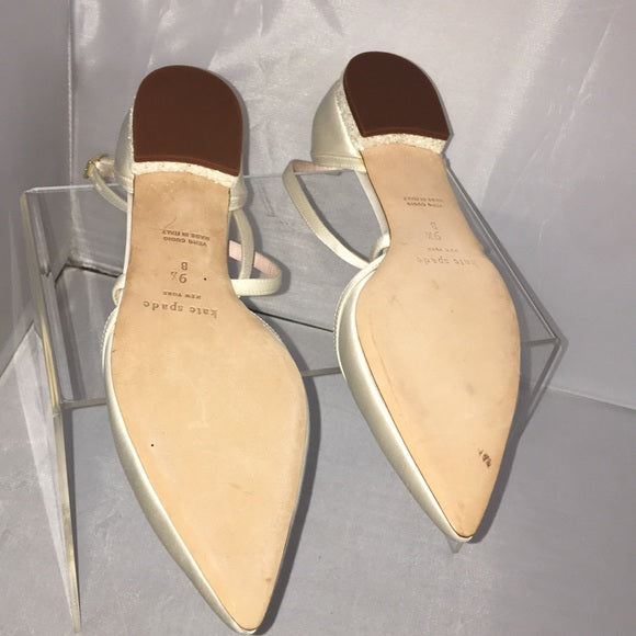 Kate Spade Ivory Ankle Strap Bridal Flats