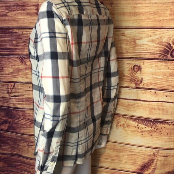 BARBOUR Navy red white plaid long sleeve
