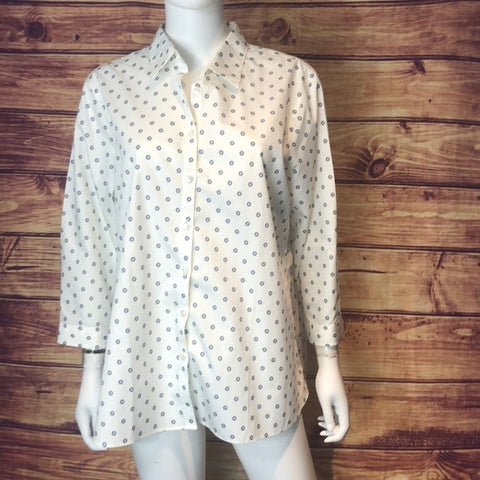 Lands End NEW White with Navy Print Blouse