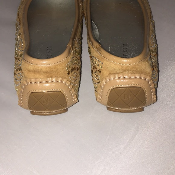 Donald Pliner Tan Beaded Flats
