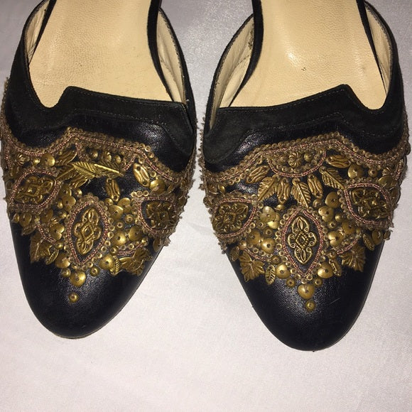 Oscar De La a Renta Black Beaded Mules