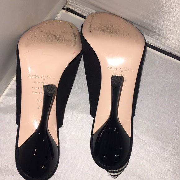 Kate Spade Black Suede Stiletto Slingbacks