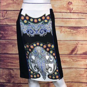 ETRO Blk w/ Print Pencil Skirt