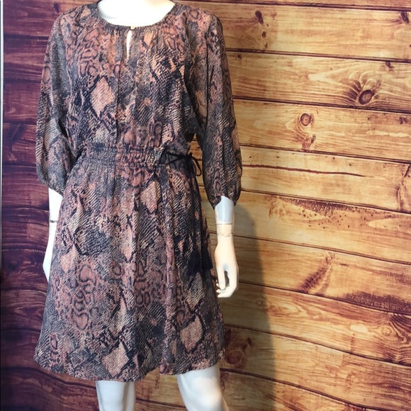 Anthropologie Blue Pink Snake Print Peasant Dress
