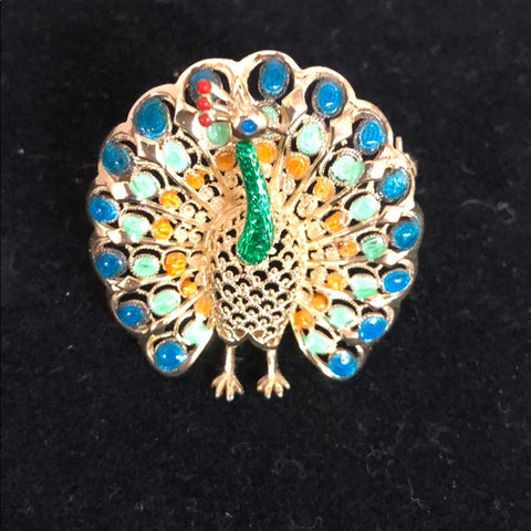 Alice Caviness Sterling/Enamel Peacock Pin