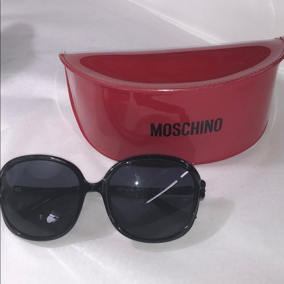 Moschino Black Large Frame Sunglasses w/ bows