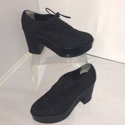 Robert Clergerie Blk Suede Oxford Platforms