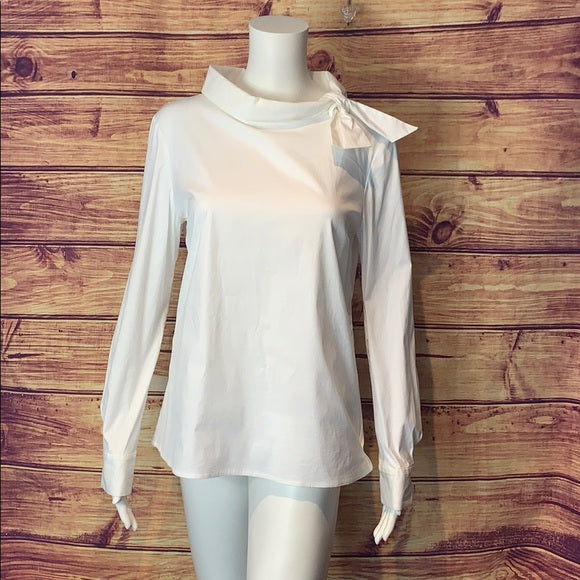 Prada White Tie Neck Top