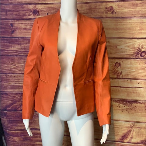 Walter Baker orange leather blazer