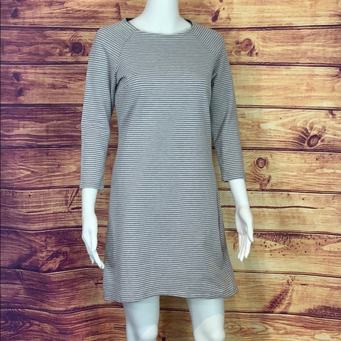 Workshop Republic Grey and White Striped Dress
