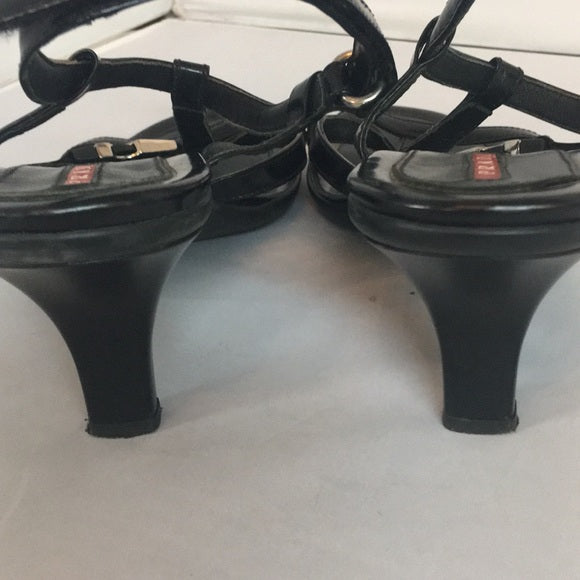 Prada Black Strappy Sandals Mid Heel