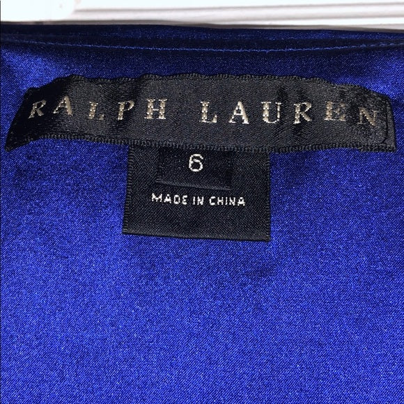 Ralph Lauren Cobalt Silk Strapless Cocktail