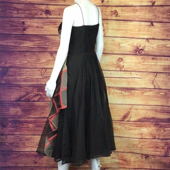 Vintage Bck Cocktail Dress w/ plaid Chiffon Trim