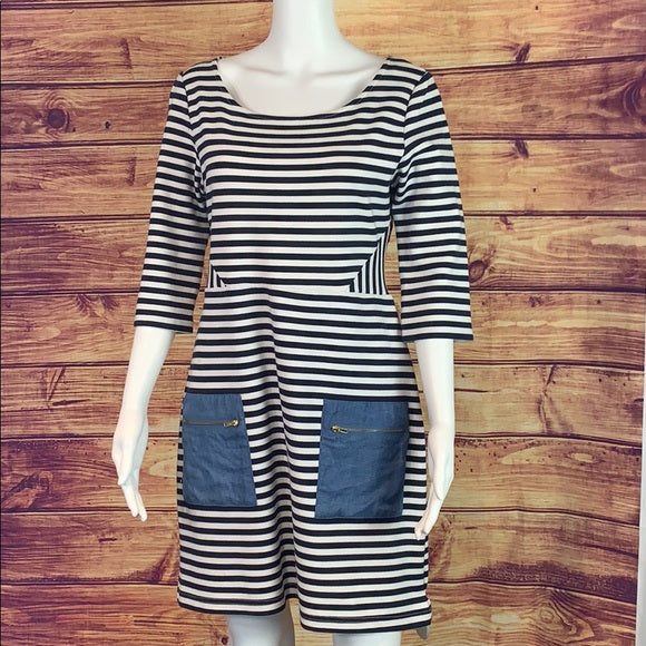 Blue and White Striped Dress with Denim Pockets
