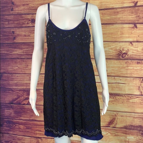 Free People Black Beaded Cobalt Lace Dress